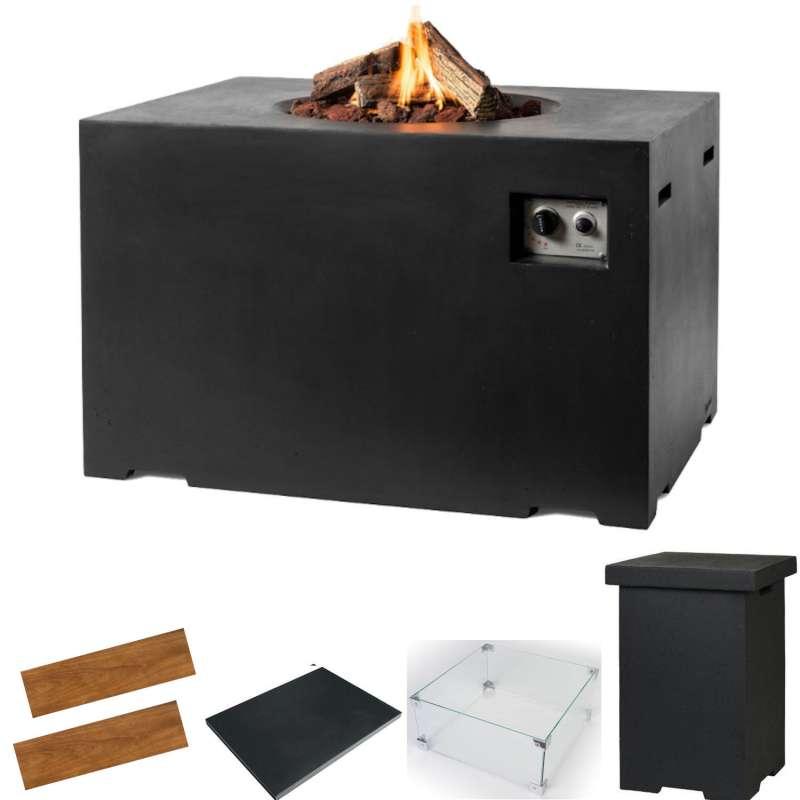 Happy Cocooning Mania Feuertisch Lounge&Dining Komplettset 19,5 kW rechteckig 107x80x67 cm Beton-Opt