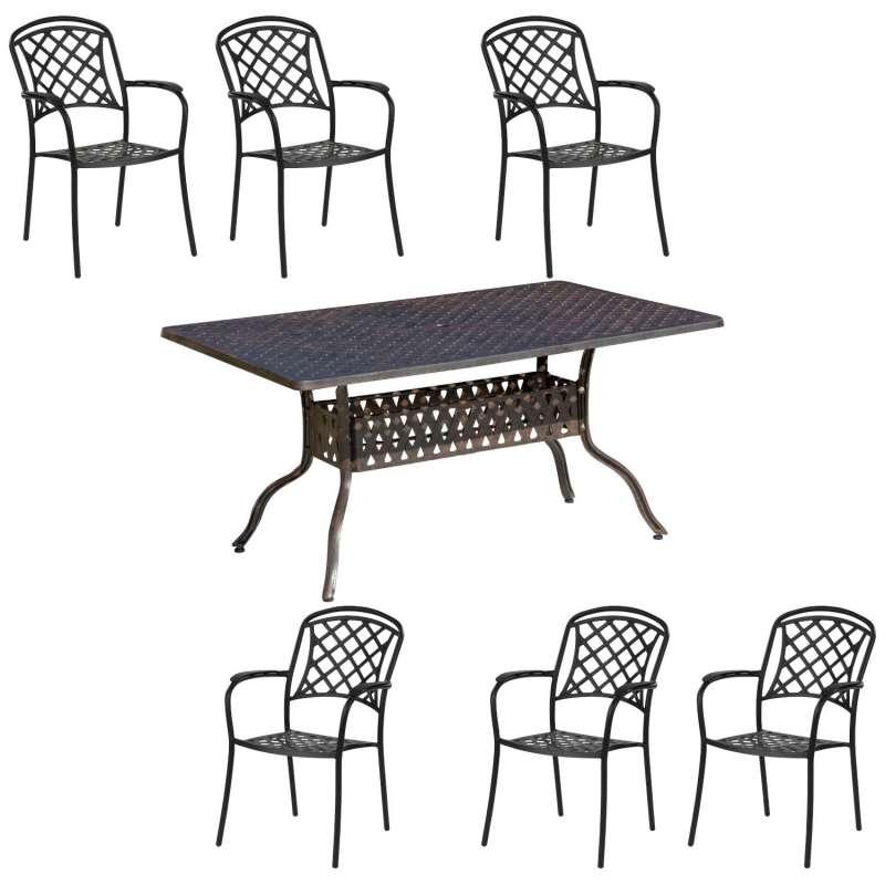 Inko Tisch-Set 1 Tisch 150x97cm 6 Sessel Aluminium Guss bronze Variante wählbar