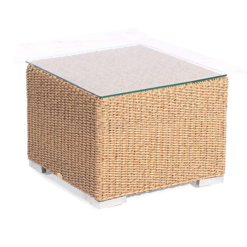 Sonnenpartner Lounge-Tisch Residence 60x60 cm Aluminium mit Polyrattan Hyazinthoptik mit Glas Lounge