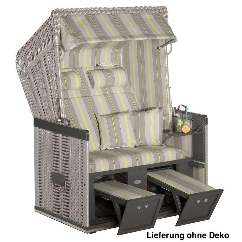 Sonnenpartner Strandkorb Konsul 2 Sitzer Halbliegemodell silber weiß