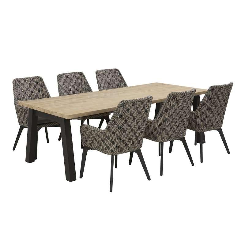 4Seasons Outdoor 7-teilige Sitzgruppe Savoy Stühle mit Esstisch Teakholzplatte