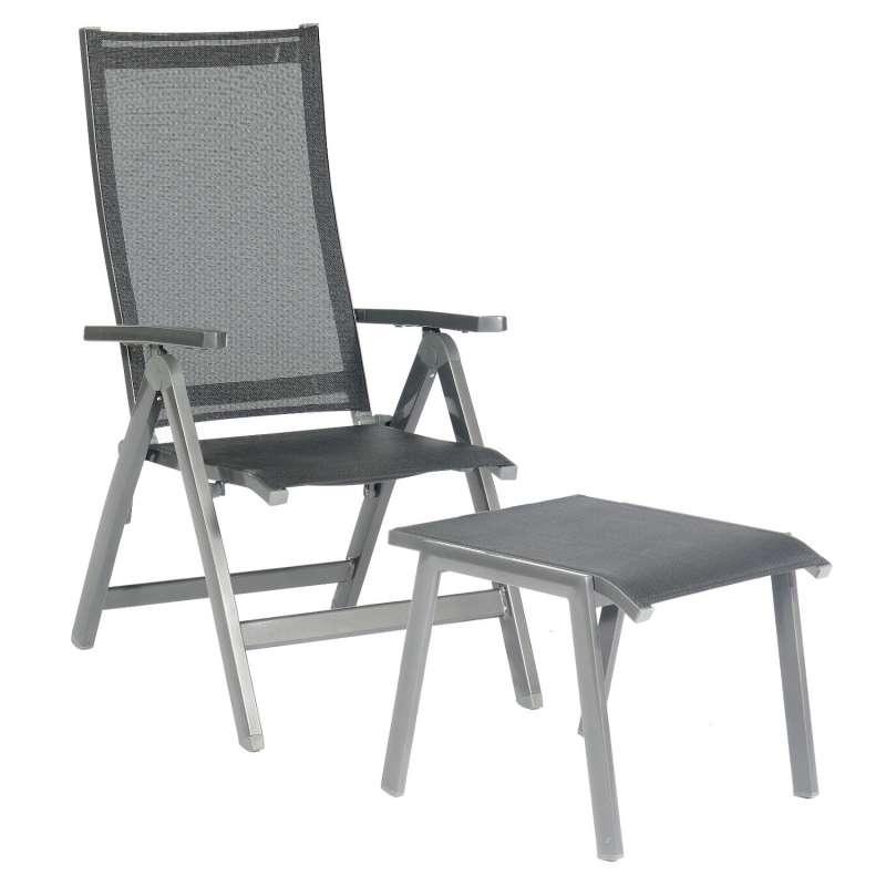 Sonnenpartner Klappsessel Fresno mit Fußhocker Aluminium mit Textilen anthrazit Klapp-Sessel Klappst