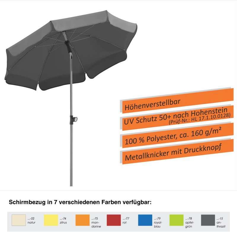 Schneider Locarno Sonnenschirm ø 150 cm in 7 Farbvarianten Gartenschirm Balkonschirm