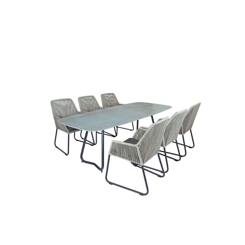 SIT Mobilia 7-teilige Sitzgruppe Jura Delemont & Allanis Stahl eisengrau/Dekton/beige Tisch 220x100