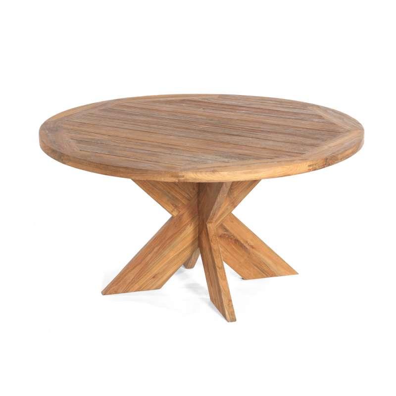 Sonnenpartner Gartentisch Quantum rund Ø 150 cm Teakholz Old Teak Tisch Esstisch