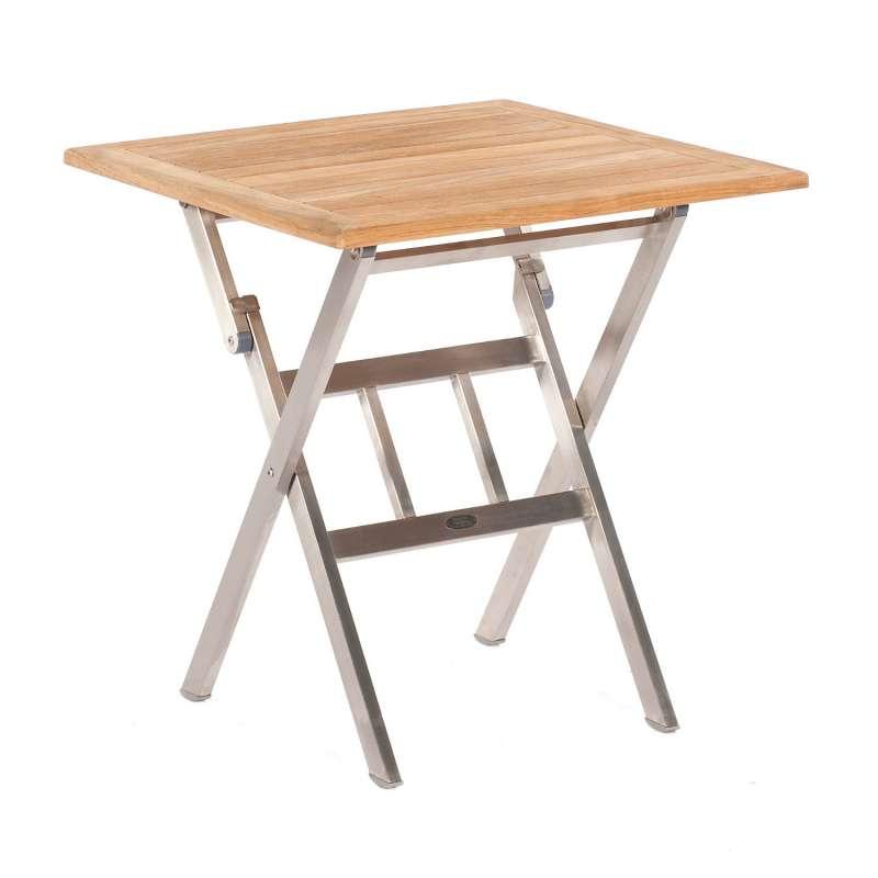 Sonnenpartner Klapptisch Base 70x70 cm Edelstahl Tischsystem mit wählbarer Tischplatte HPL Teak