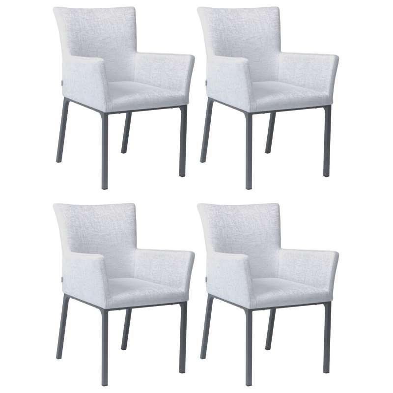 Stern 4er-Set Dining-Sessel Artus Aluminium anthrazit/ Outdoorstoff hellgrau seidengrau Loungesessel