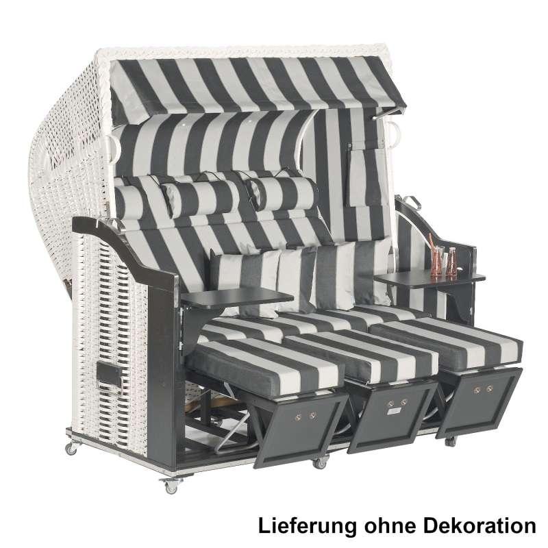 Sonnenpartner Strandkorb Classic 3-Sitzer Halbliegemodell schwarz/weiß mit Sonderausstattung