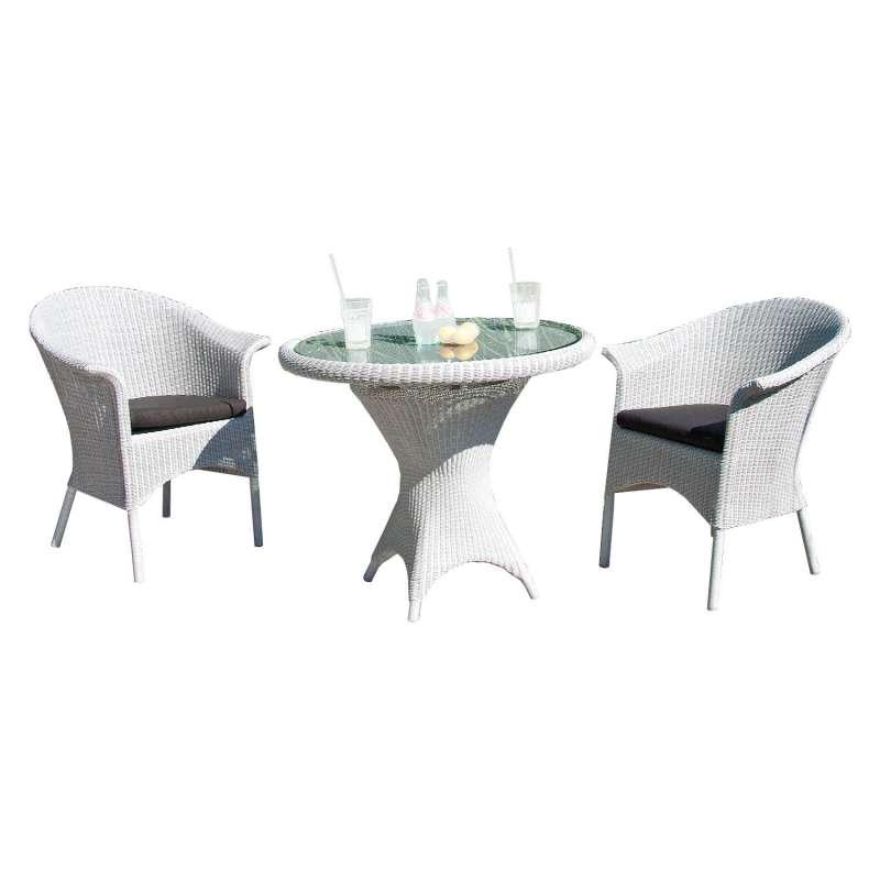 Sonnenpartner 3-teilige Sitzgruppe Cayman & Bonaire Ø 90 cm Polyrattan white-washed Glas Gartenstuhl