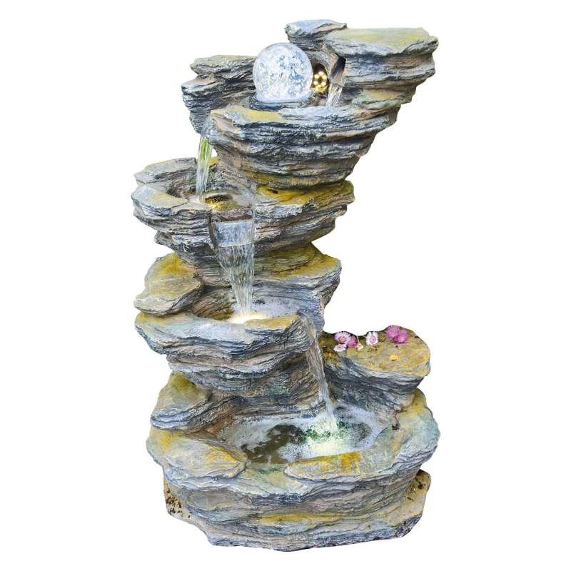 Granimex Fudong Polystone Schiefer-Wasserfall mit Glaskugel und LED Zierbrunnen Wasserspiel 86x54x42