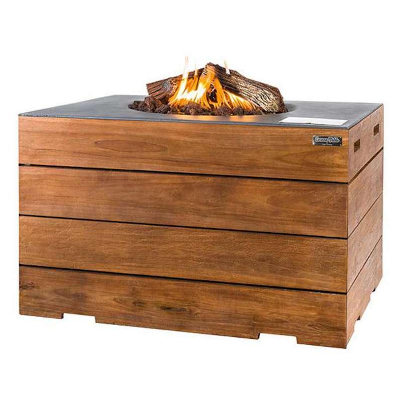 Happy Cocooning Mania Feuertisch Lounge&Dining 19,5 kW rechteckig 107x80x67,5 cm Teakholz/grau