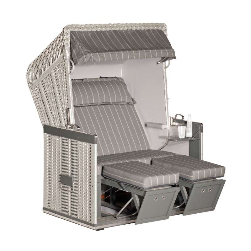Sonnenpartner Strandkorb Konsul 2-Sitzer Halbliegemodell silber/grau mit Sonderausstattung