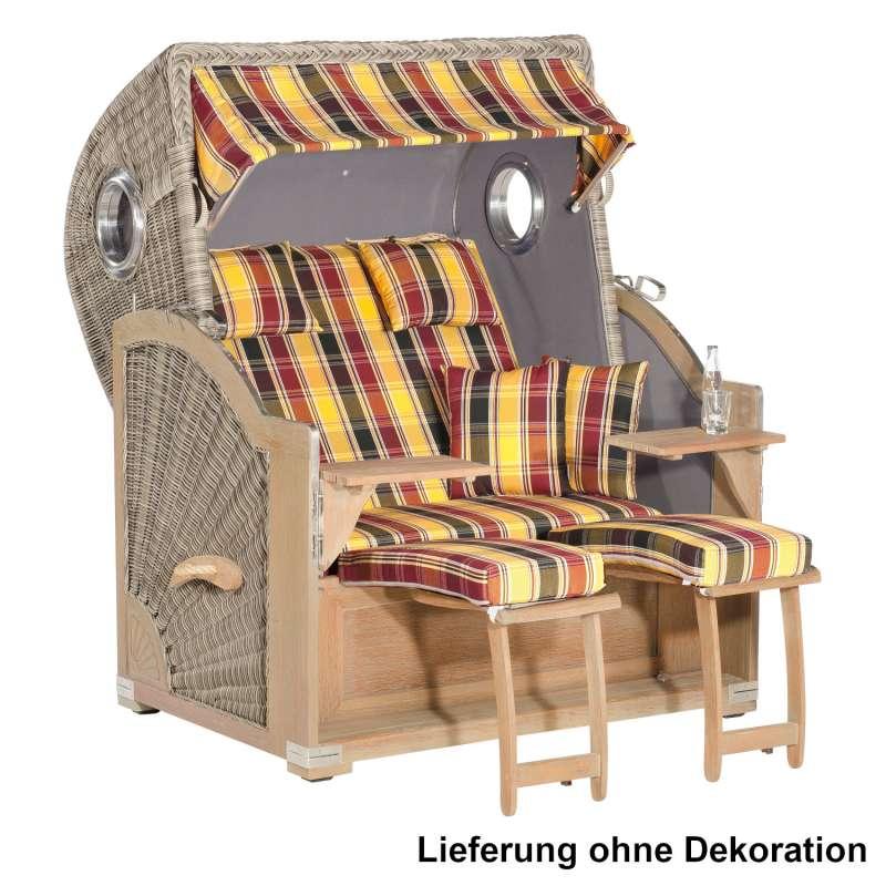 SunnySmart Garten-Strandkorb Rustikal 500 PLUS COMFORT 3/4-Liegemodell 2-Sitzer XL basalt-grau/gelb/