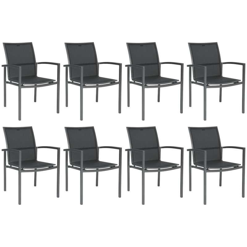Stern 8er-Set Stapelsessel Skelby Aluminium graphit/Textilen silbergrau Gartenstuhl Stapelstuhl