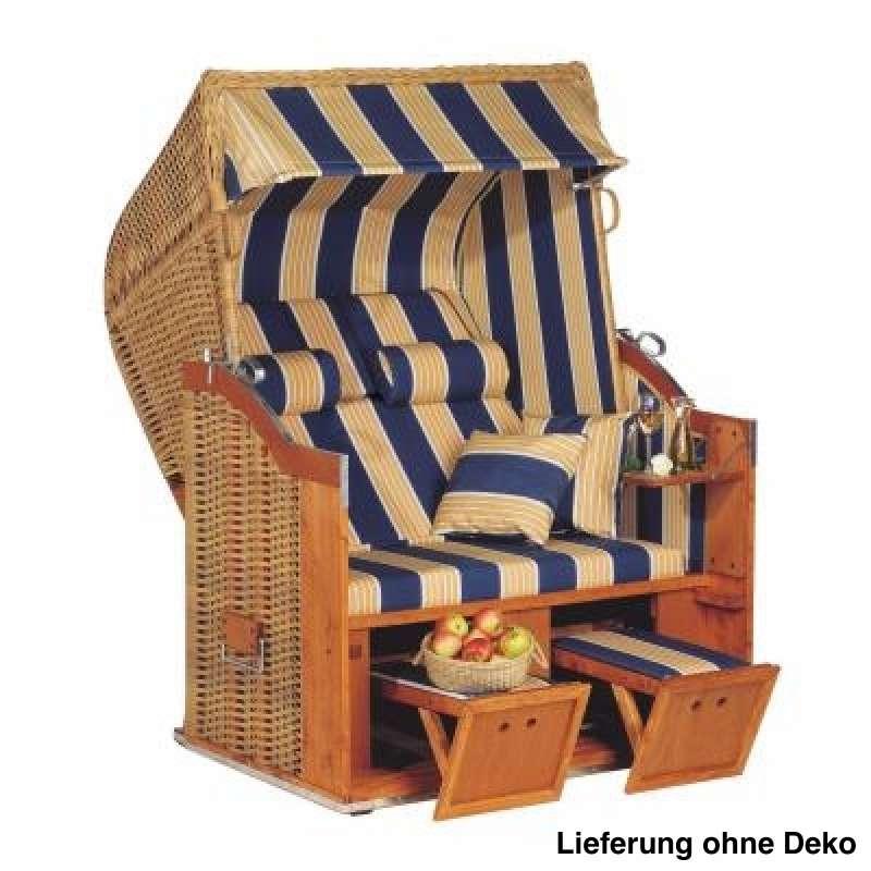 Sonnenpartner Strandkorb Classic 2 Sitzer Halbliegemodell naturoptik blau