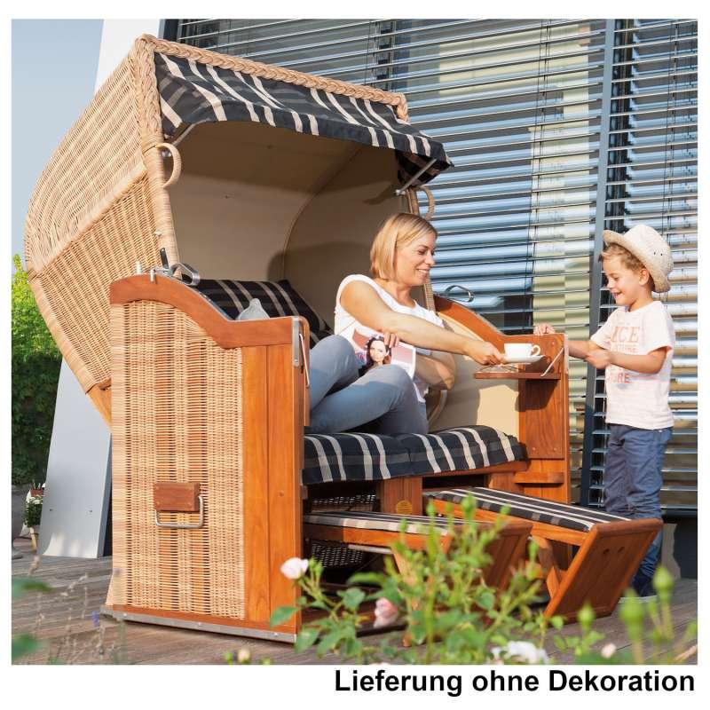 Sonnenpartner Strandkorb Classic Teak 2-Sitzer Halbliegemodell Duo-Style natur/paros/sand