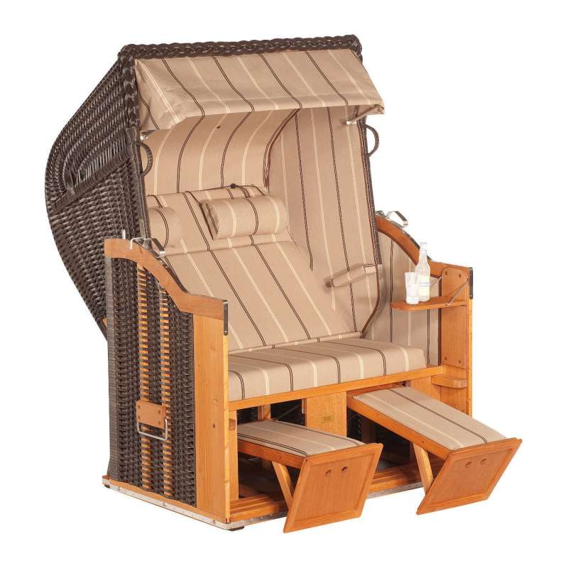 Sonnenpartner Strandkorb Classic 2-Sitzer Halbliegemodell cappuccino/beige mit 2 Nackenrollen