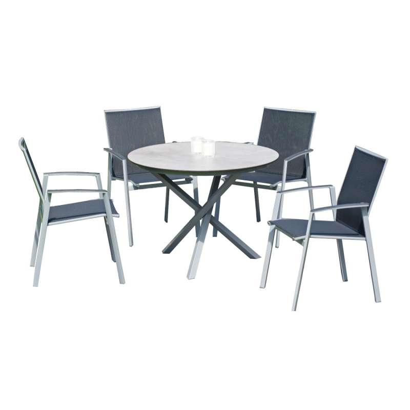 Sonnenpartner 5-teilige Sitzgruppe Fresno & Base-Spectra Ø 100 cm mit 4 Stapelstühlen Aluminium silb