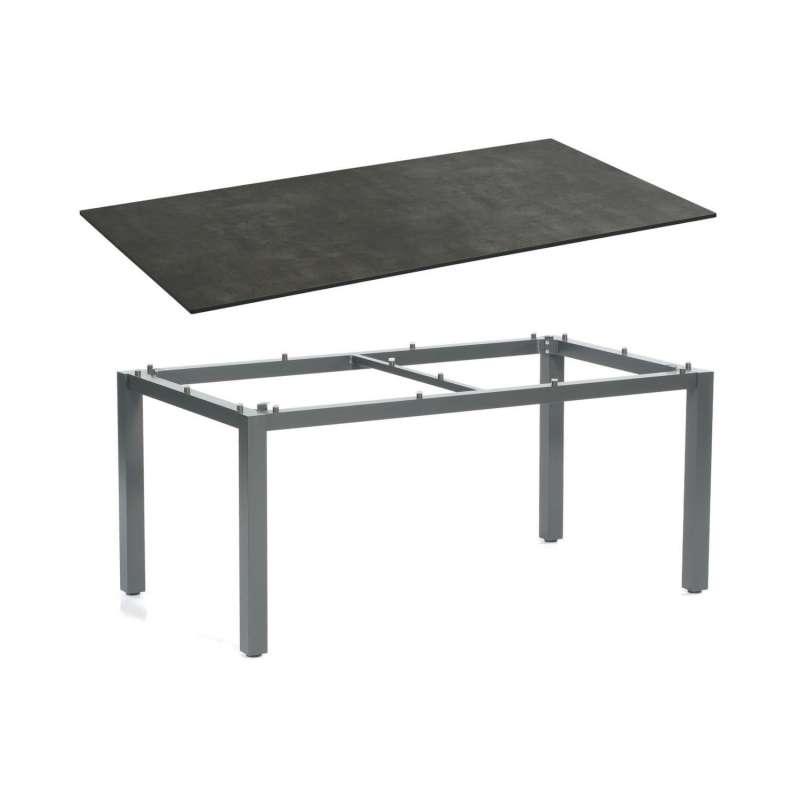 Sonnenpartner Gartentisch Base 160x90 cm Aluminium anthrazit Tischsystem mit wählbarer Tischplatte H