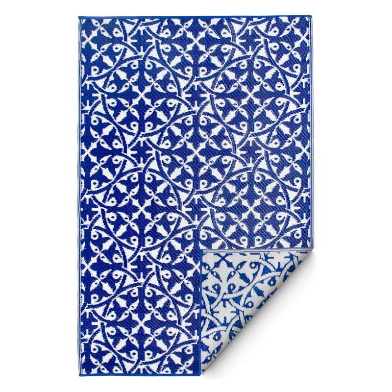Fab Hab Outdoorteppich San Juan Dark Blue aus recyceltem Plastik blau/weiß wetterfest 90x150 cm