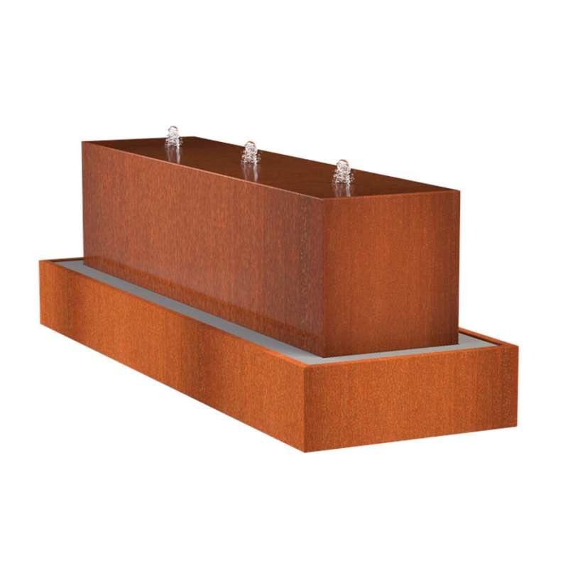 Adezz Wasserblock Corten-Stahl 300x70x70 cm Rost braun/orange Wasserspiel mit Pumpe und LED