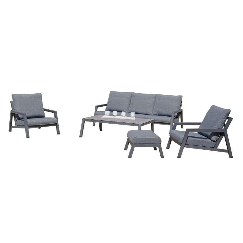 Sonnenpartner 5-teilige Lounge-Sitzgruppe Empire mit Tisch Aluminium anthrazit mit Kissen Loungegrup