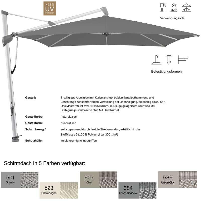 GLATZ Ampelschirm SOMBRANO® S+ quadratisch 350 x 350 cm in 5 Farben Sonnenschirm Stoffklasse 5