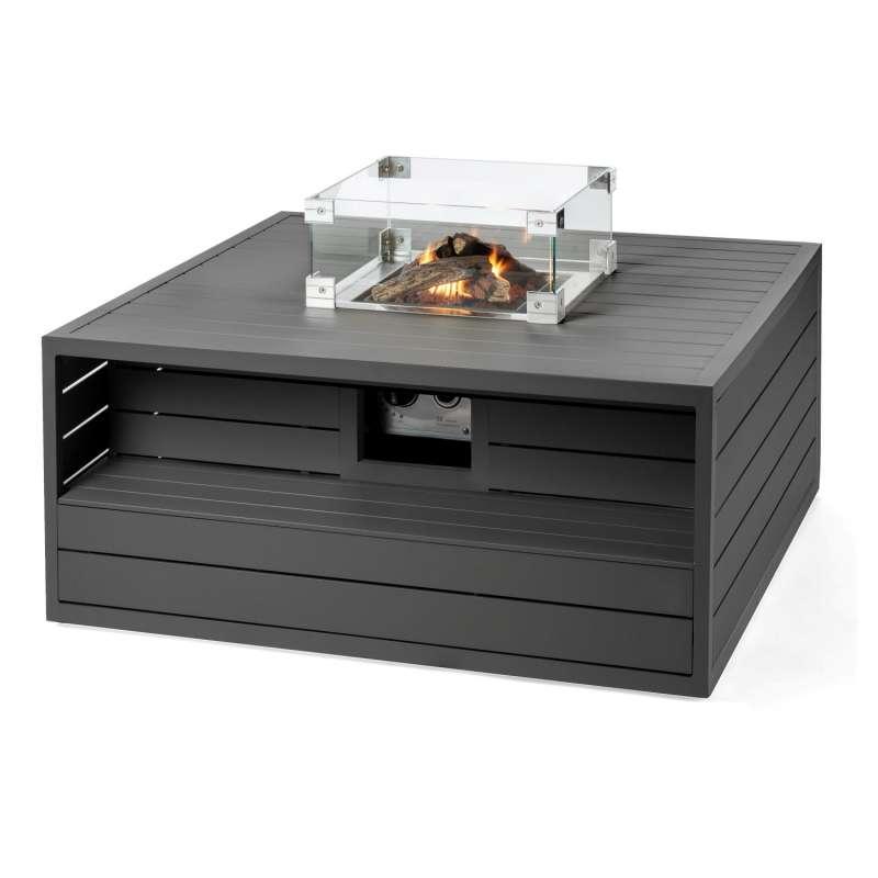 Happy Cocooning Mania Feuertisch Aluminium anthrazit 6,5 kW quadratisch 105x105x47 cm mit Glasschirm