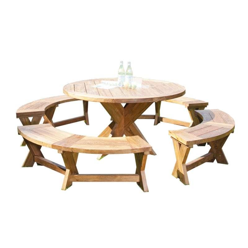 Sonnenpartner 5-teilige Sitzgruppe Quantum rund Ø 150 cm Teakholz Old Teak Gartenbank Esstisch