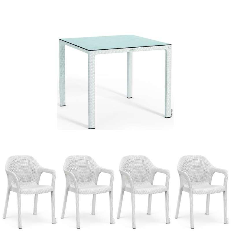 Lechuza 5-teilige Sitzgruppe Flechtstruktur weiß Gartentisch HPL 90x90 cm 4 Stapelstühle