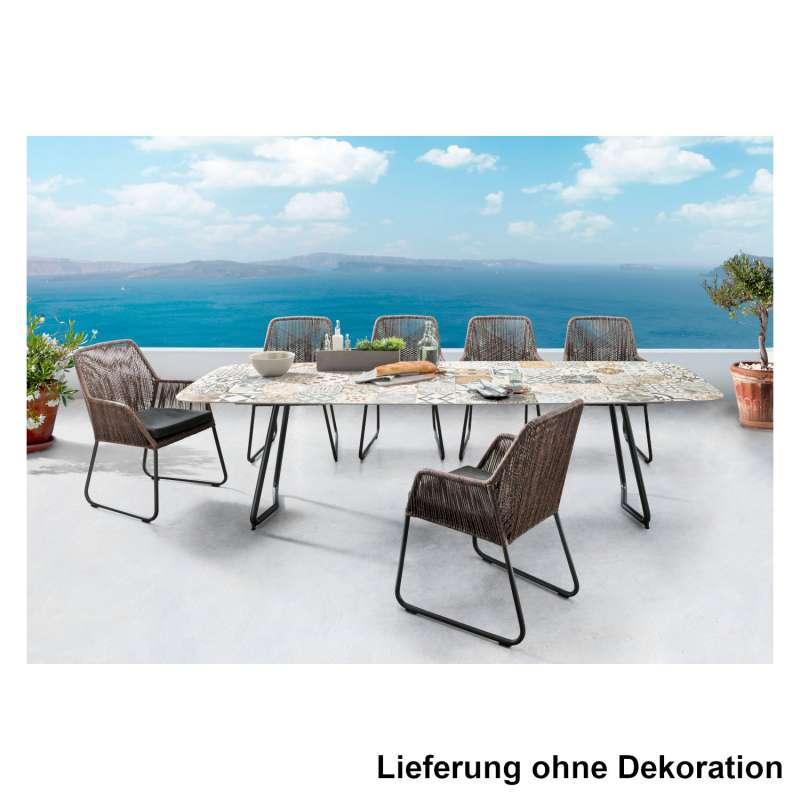 SIT Mobilia 7-teilige Sitzgruppe Jura Delemont & Allanis Stahl eisengrau/Keramik/abaco Tisch 280x100