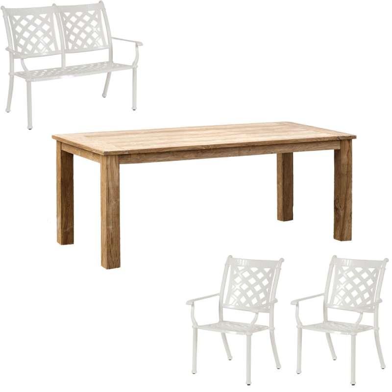 Inko 4-teilige Sitzgruppe Duke und Abacus Alu-Guss weiß/Teakholz Tisch 160x90 cm