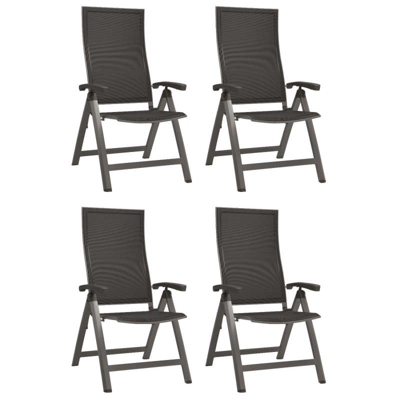 Stern 4er-Set Klappsessel Kari Aluminium graphit/Textilen silbergrau Gartenstuhl Hochlehner