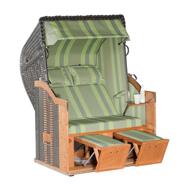 Sonnenpartner Strandkorb Classic 2-Sitzer Halbliegemodell anthrazit/grün mit Sonderausstattung
