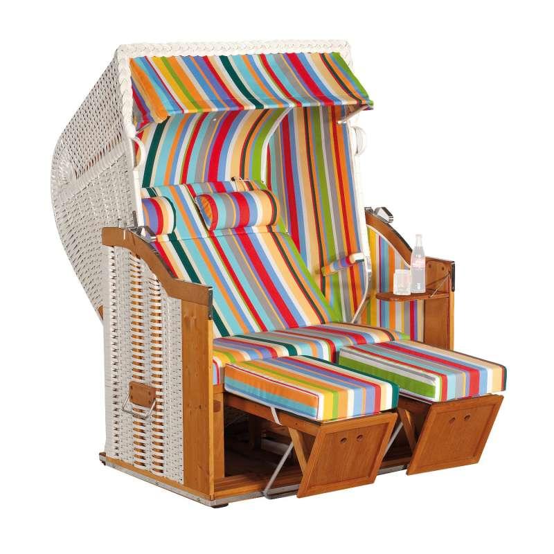 Sonnenpartner Strandkorb Classic 2-Sitzer Halbliegemodell weiß/bunt mit Sonderausstattung