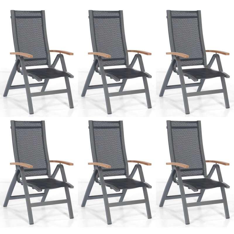 Sonnenpartner 6er-Set Klappsessel Florida Aluminium anthrazit/Textilen schwarz Klapp-Sessel Klappstu