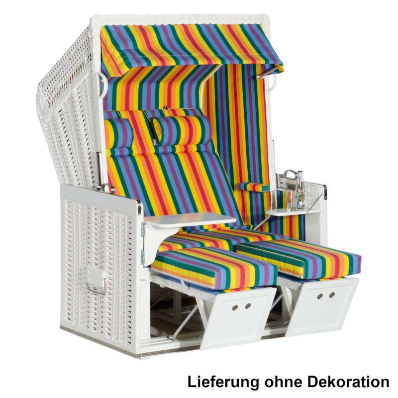 Sonnenpartner Strandkorb Konsul 2-Sitzer Halbliegemodell weiß/bunt mit Sonderausstattung
