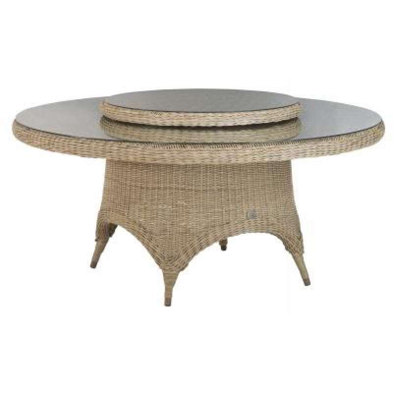 4Seasons Outdoor Victoria Tisch mit Drehteller Lazy Susan Polyrattan pure