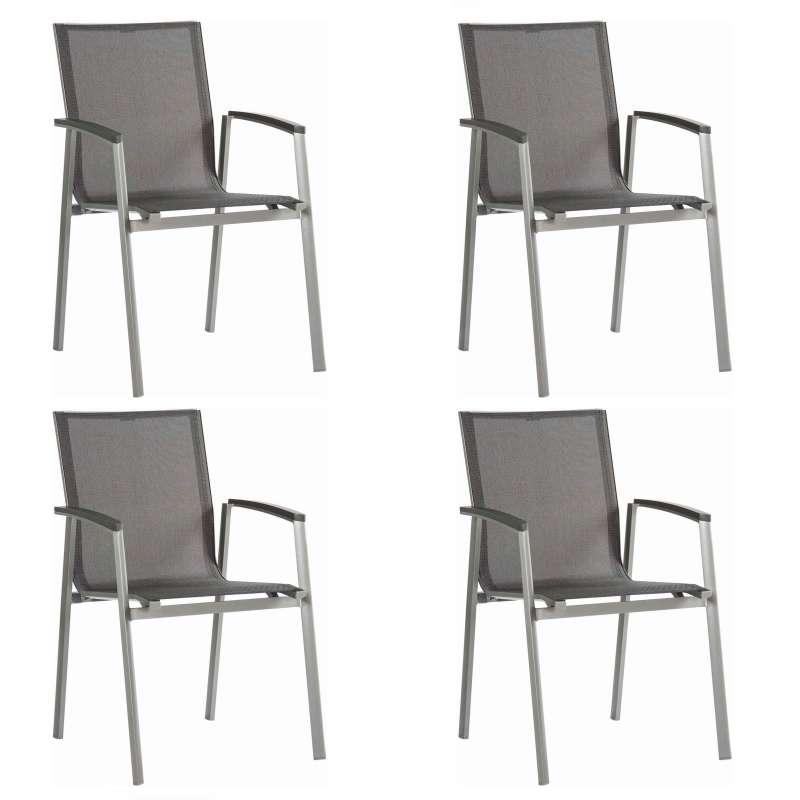 Stern 4er-Set Stapelsessel New Top Aluminium graphit/Textilen silbergrau Gartenstuhl Stapelstuhl