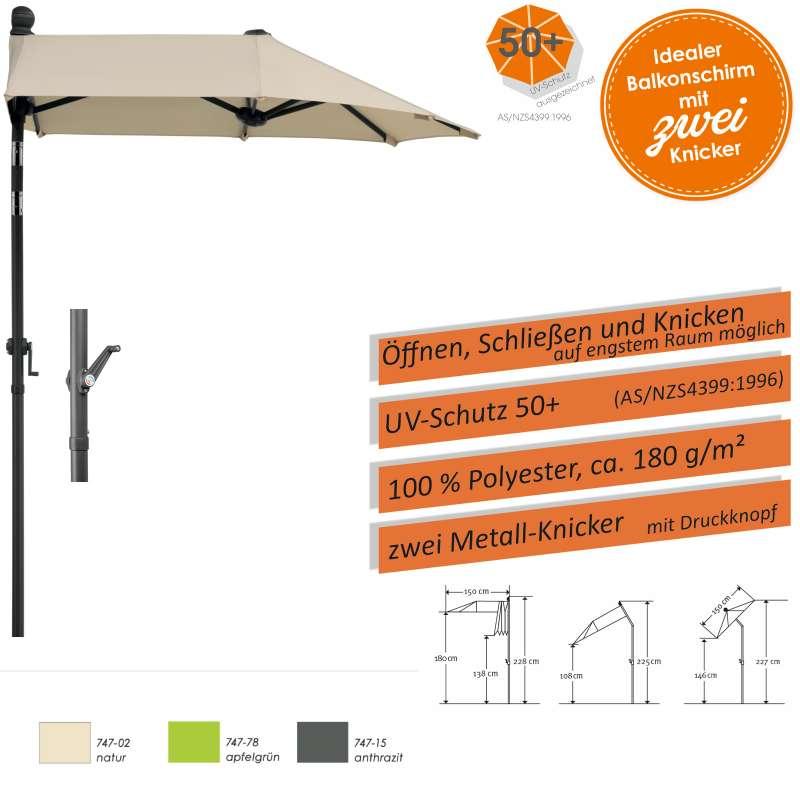 Schneider Schirme Salerno Mezzo 150 x 150 cm Balkonschirm Sonnenschirm 3 Farbvarianten
