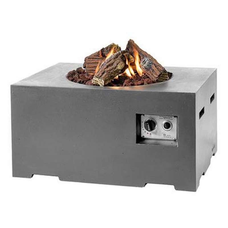 Happy Cocooning Mania Feuertisch 12 kW rechteckig klein 80x60x40 cm Beton-Optik grau