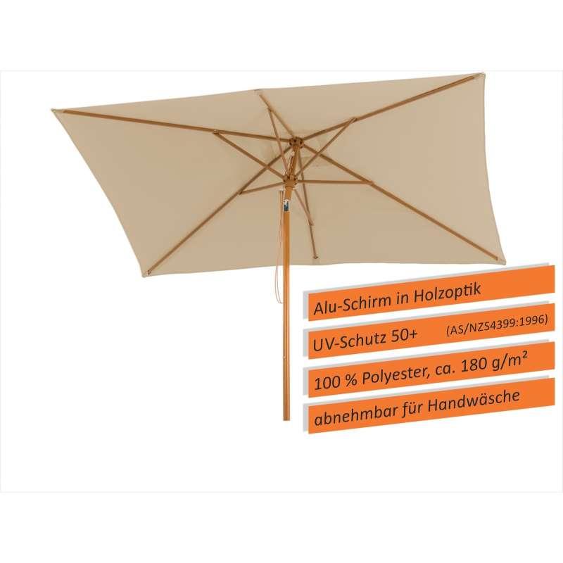 Schneider Schirme Malaga Mittelmastschirm 300 x 200 cm natur Sonnenschirm Gartenschirm