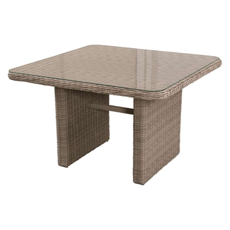 Inko Lounge-Tisch Galaxy Rattanoptik light grey/Glas 110x110 cm Loungetisch Gartentisch