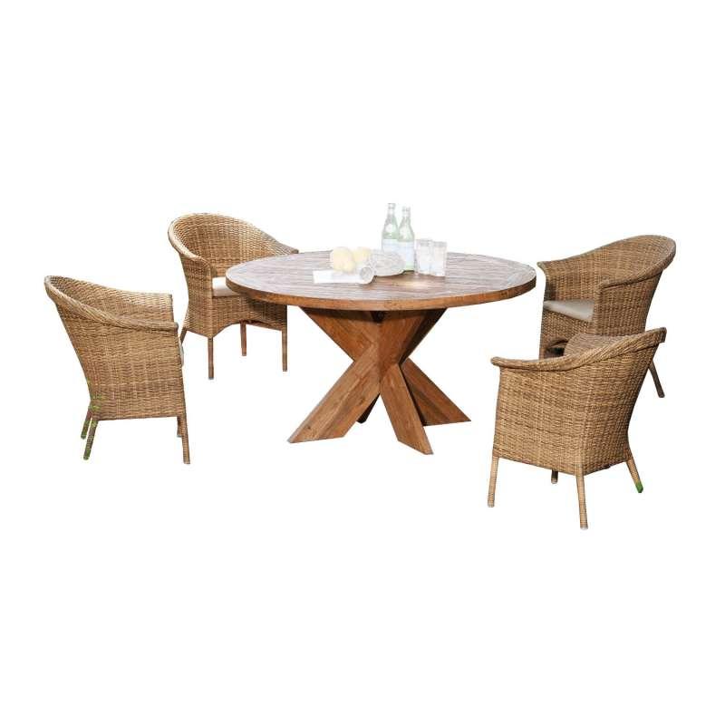 Sonnenpartner 5-teilige Sitzgruppe Cayman & Quantum Ø 120 cm Polyrattan natura-antik Teakholz Garten