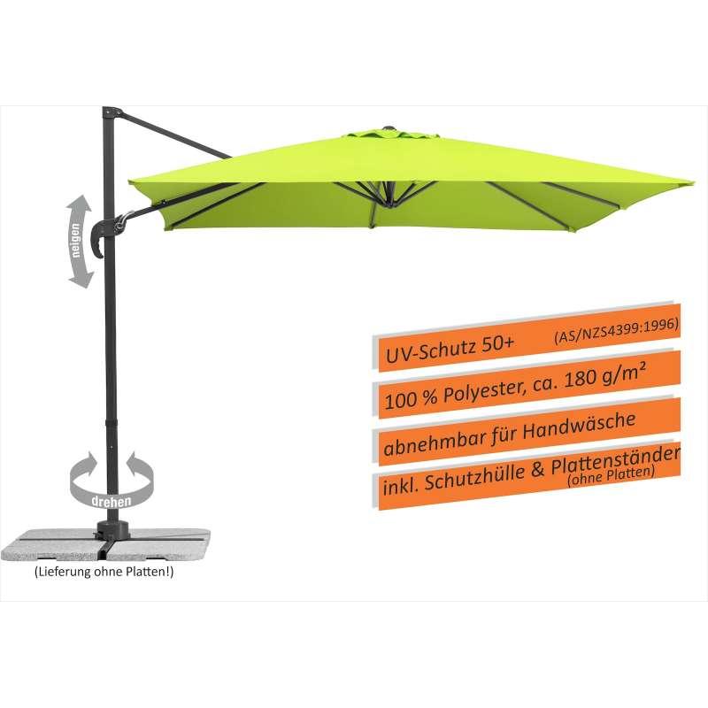 Schneider Schirme Rhodos Junior Ampelschirm 270 x 270 cm apfelgrün Sonnenschirm Freiarm