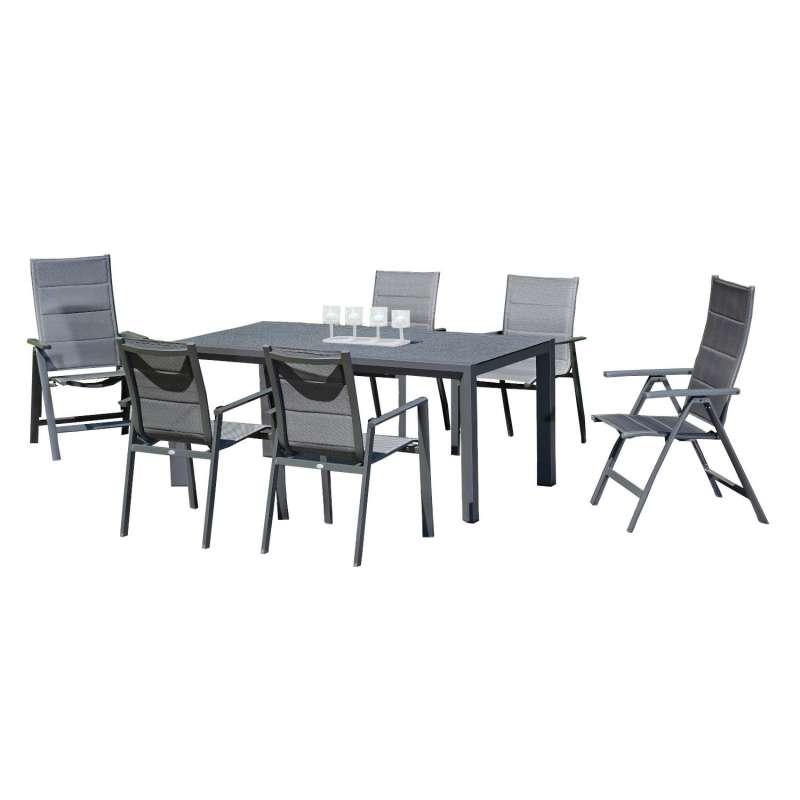 SunnySmart 7-teilige Sitzgruppe Concept & Rondo Aluminium Polstertextilgewebe anthrazit Gartentisch