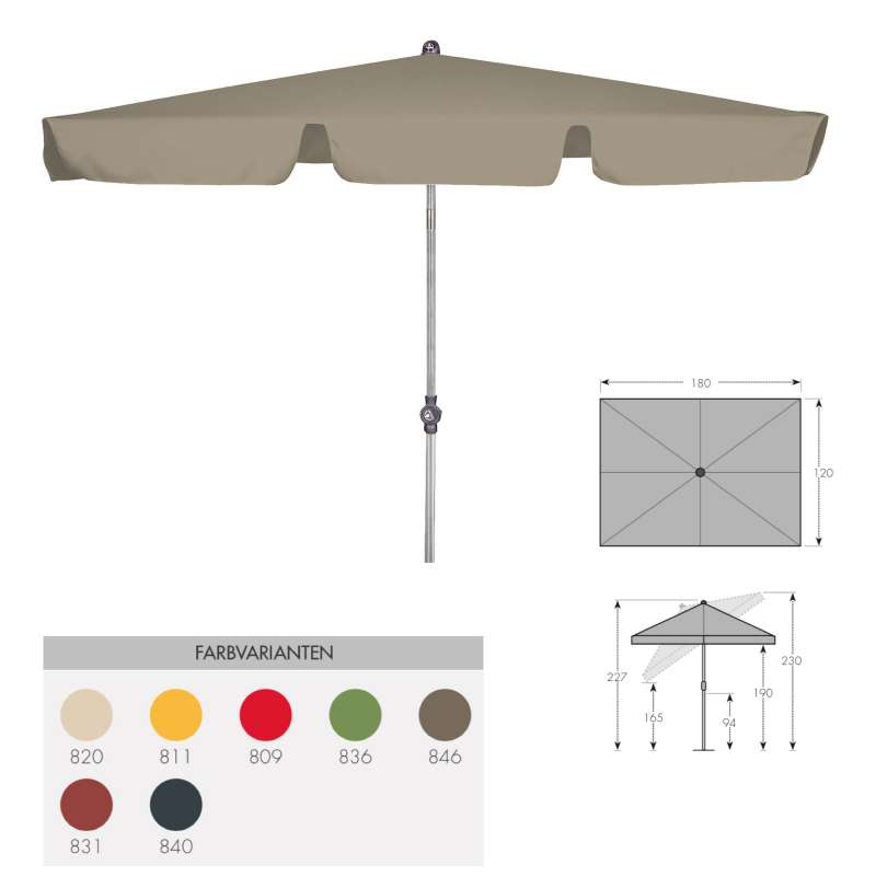 Doppler ACTIVE Sonnenschirm 180 x 120 cm in 7 Farbvarianten Mittelmastschirm Balkonschirm