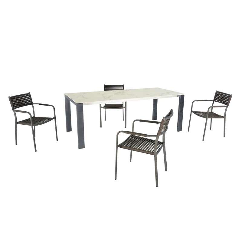 SIT Mobilia 5-teilige Sitzgruppe Olympia Oslo & Arica Edelstahl eisengrau/Aluminium Tisch 160x95 cm