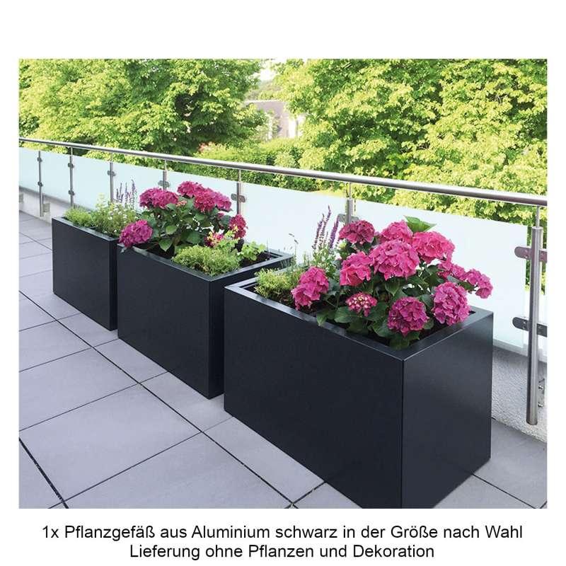 Mecondo Pflanzgefäß CONTURA Stahl tiefschwarz matt RAL 9005 Blumenkübel Bewässerungssystem