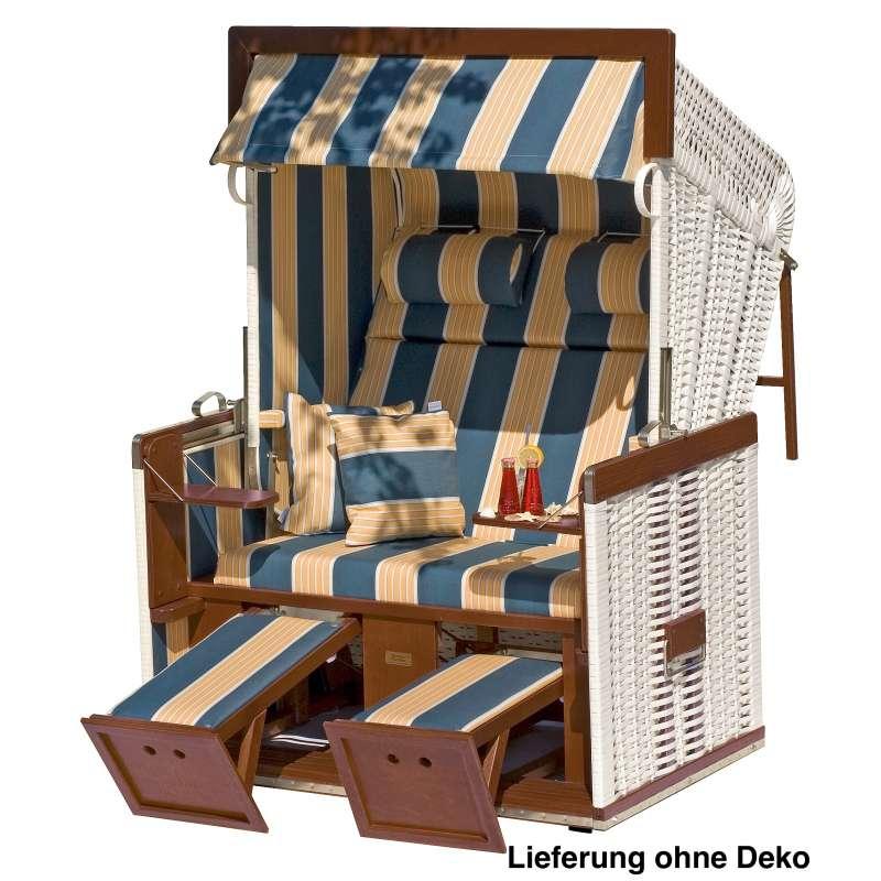 Sonnenpartner Strandkorb Senator 2 Sitzer Liegemodell weiß blau beige